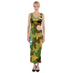 Urban Camo Green Brown Grey Pizza Strom Fitted Maxi Dress by Mariart