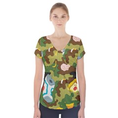 Urban Camo Green Brown Grey Pizza Strom Short Sleeve Front Detail Top