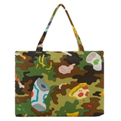 Urban Camo Green Brown Grey Pizza Strom Medium Zipper Tote Bag by Mariart