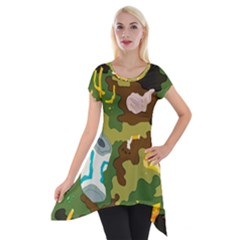Urban Camo Green Brown Grey Pizza Strom Short Sleeve Side Drop Tunic by Mariart
