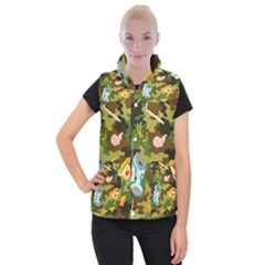 Urban Camo Green Brown Grey Pizza Strom Women s Button Up Puffer Vest by Mariart