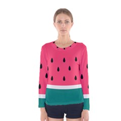 Watermelon Red Green White Black Fruit Women s Long Sleeve Tee by Mariart