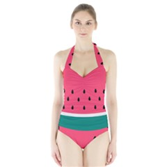 Watermelon Red Green White Black Fruit Halter Swimsuit by Mariart