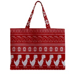Red Dinosaur Star Wave Chevron Waves Line Fabric Animals Zipper Mini Tote Bag by Mariart