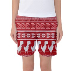 Red Dinosaur Star Wave Chevron Waves Line Fabric Animals Women s Basketball Shorts by Mariart