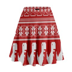 Red Dinosaur Star Wave Chevron Waves Line Fabric Animals High Waist Skirt by Mariart