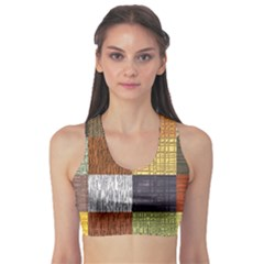 Blocky Filters Yellow Brown Purple Red Grey Color Rainbow Sports Bra by Mariart