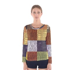 Blocky Filters Yellow Brown Purple Red Grey Color Rainbow Women s Long Sleeve Tee by Mariart