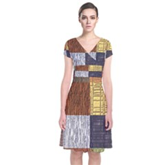 Blocky Filters Yellow Brown Purple Red Grey Color Rainbow Short Sleeve Front Wrap Dress by Mariart