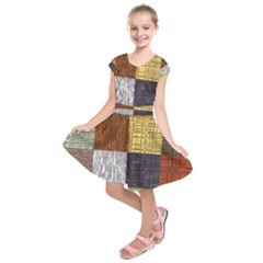 Blocky Filters Yellow Brown Purple Red Grey Color Rainbow Kids  Short Sleeve Dress by Mariart