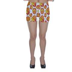 Colorful Stylized Floral Pattern Skinny Shorts by dflcprintsclothing