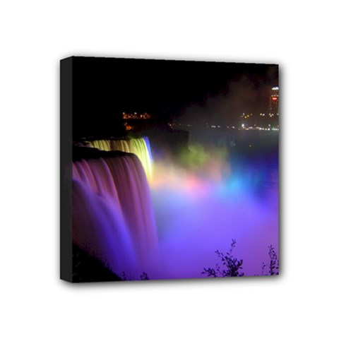 Niagara Falls Dancing Lights Colorful Lights Brighten Up The Night At Niagara Falls Mini Canvas 4  X 4