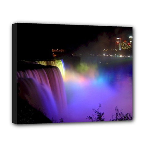 Niagara Falls Dancing Lights Colorful Lights Brighten Up The Night At Niagara Falls Deluxe Canvas 20  X 16