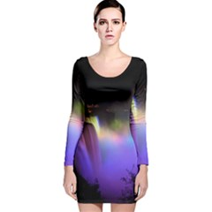 Niagara Falls Dancing Lights Colorful Lights Brighten Up The Night At Niagara Falls Long Sleeve Velvet Bodycon Dress