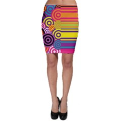 Retro Circles And Stripes Colorful 60s And 70s Style Circles And Stripes Background Bodycon Skirt