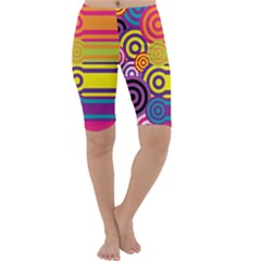 Retro Circles And Stripes Colorful 60s And 70s Style Circles And Stripes Background Cropped Leggings