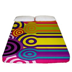Retro Circles And Stripes Colorful 60s And 70s Style Circles And Stripes Background Fitted Sheet (queen Size) by Simbadda