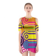 Retro Circles And Stripes Colorful 60s And 70s Style Circles And Stripes Background Shoulder Cutout One Piece