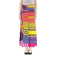 Retro Circles And Stripes Colorful 60s And 70s Style Circles And Stripes Background Maxi Skirts
