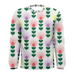 Floral Wallpaer Pattern Bright Bright Colorful Flowers Pattern Wallpaper Background Men s Long Sleeve Tee by Simbadda