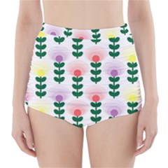 Floral Wallpaer Pattern Bright Bright Colorful Flowers Pattern Wallpaper Background High-waisted Bikini Bottoms by Simbadda