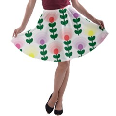 Floral Wallpaer Pattern Bright Bright Colorful Flowers Pattern Wallpaper Background A Line Skater Skirt