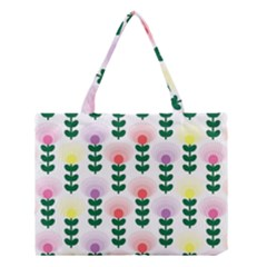 Floral Wallpaer Pattern Bright Bright Colorful Flowers Pattern Wallpaper Background Medium Tote Bag