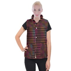 Colorful Venetian Blinds Effect Women s Button Up Puffer Vest