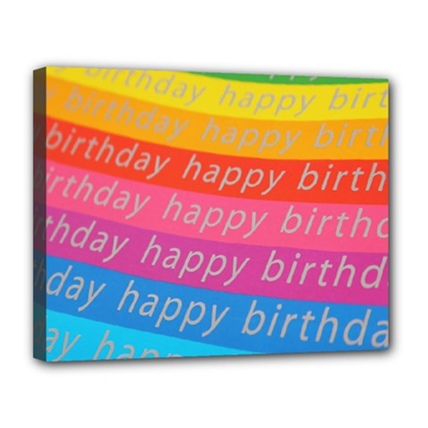Colorful Happy Birthday Wallpaper Canvas 14  X 11