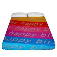 Colorful Happy Birthday Wallpaper Fitted Sheet (king Size) by Simbadda