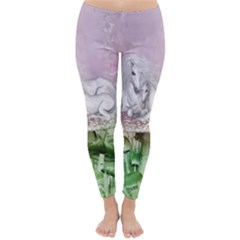 Wonderful Unicorn With Foal On A Mushroom Classic Winter Leggings by FantasyWorld7