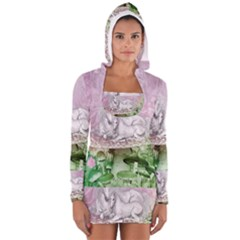 Wonderful Unicorn With Foal On A Mushroom Women s Long Sleeve Hooded T Shirt by FantasyWorld7