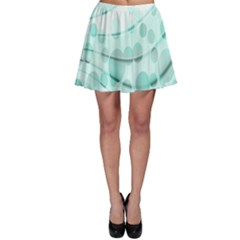 Abstract Background Teal Bubbles Abstract Background Of Waves Curves And Bubbles In Teal Green Skater Skirt by Simbadda