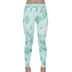Abstract Background Teal Bubbles Abstract Background Of Waves Curves And Bubbles In Teal Green Classic Yoga Leggings by Simbadda