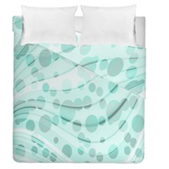 Abstract Background Teal Bubbles Abstract Background Of Waves Curves And Bubbles In Teal Green Duvet Cover Double Side (queen Size)
