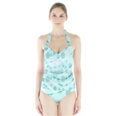 Abstract Background Teal Bubbles Abstract Background Of Waves Curves And Bubbles In Teal Green Halter Swimsuit