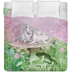 Wonderful Unicorn With Foal On A Mushroom Duvet Cover Double Side (king Size) by FantasyWorld7