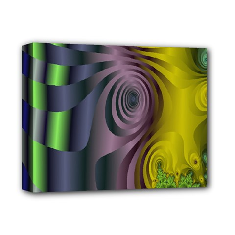 Fractal In Purple Gold And Green Deluxe Canvas 14  X 11