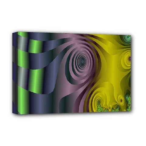 Fractal In Purple Gold And Green Deluxe Canvas 18  X 12   by Simbadda