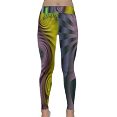 Fractal In Purple Gold And Green Classic Yoga Leggings