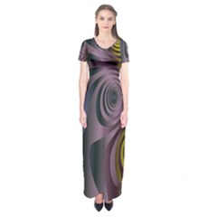 Fractal In Purple Gold And Green Short Sleeve Maxi Dress