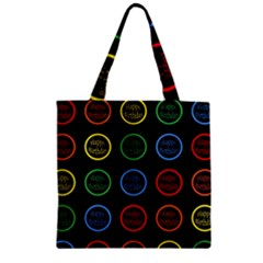 Happy Birthday Colorful Wallpaper Background Zipper Grocery Tote Bag by Simbadda