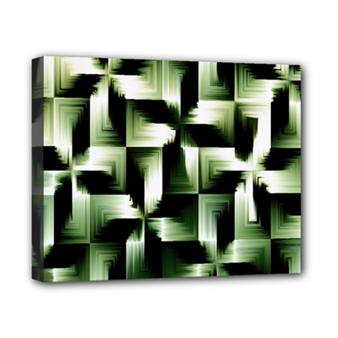 Green Black And White Abstract Background Of Squares Canvas 10  X 8