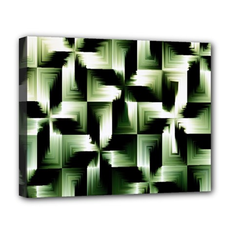 Green Black And White Abstract Background Of Squares Deluxe Canvas 20  X 16