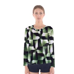 Green Black And White Abstract Background Of Squares Women s Long Sleeve Tee