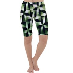 Green Black And White Abstract Background Of Squares Cropped Leggings  by Simbadda