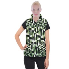Green Black And White Abstract Background Of Squares Women s Button Up Puffer Vest by Simbadda