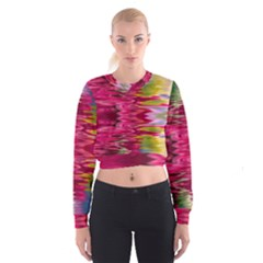 Abstract Pink Colorful Water Background Women s Cropped Sweatshirt