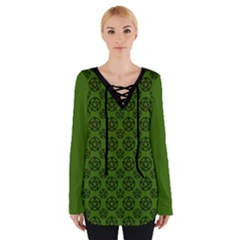 Green Pagan Pentacle Wiccan Women s Tie Up Tee by cheekywitch