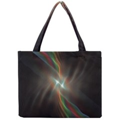 Colorful Waves With Lights Abstract Multicolor Waves With Bright Lights Background Mini Tote Bag
